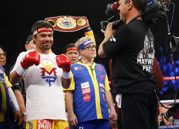 "Filipino boxing icon Manny ""Pacman"" Pacquiao before his megabout with American undefeated boxer Floyd ""Money"" Mayweather Jr. at the MGM Grand Garden Arena in Las Vegas on May 2. (Photo by Steve Marcus)"