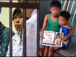Mary Jane Veloso and her two children (screengrab from Jatamari TV footage)