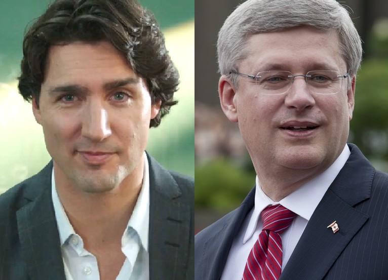 Liberal leader Justin Trudeau (left) and Prime Minister Stephen Harper