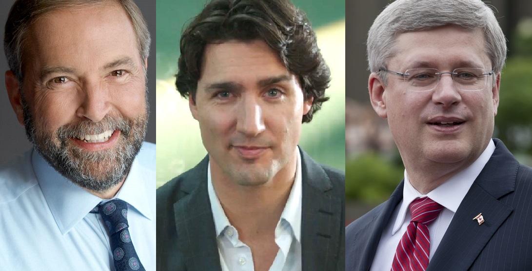 Tom Mulclair, Justin Trudeau, Stephen Harper
