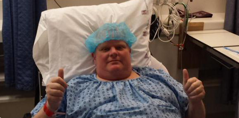 """Toronto Mayor Rob Ford """"ready to roll"""" for his surgery (Photo: Dan Jacobs / Twitter)"""