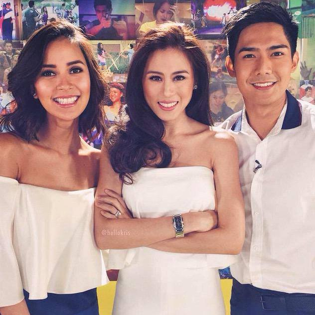 Toni Gonzaga-Soriano (middle) with co-hosts Bianca Gonzales (left) and Robi Domingo (right)  (Photo from Toni's official Facebook account)