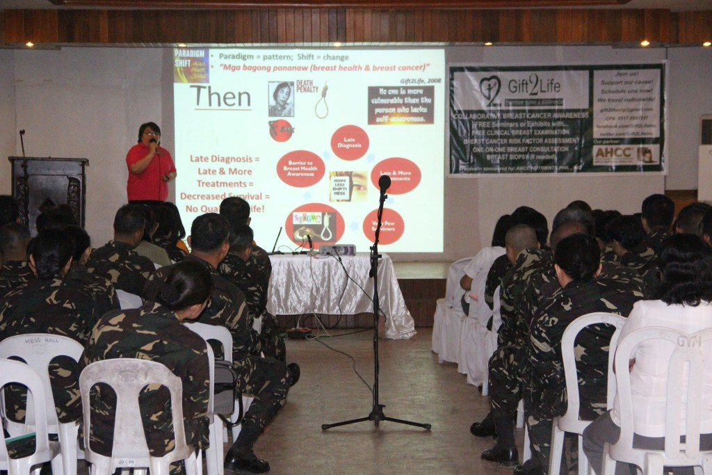 Dr Cristina L Santos M.D., the resource speaker from Gift2Life Inc., shares her knowledge about the signs and symptoms of cancer diseases during the Breast Cancer Awareness Seminar at 4ID Clubhouse, Camp Evangelista, Cagayan de Oro City (Photo courtesy of DWDD)