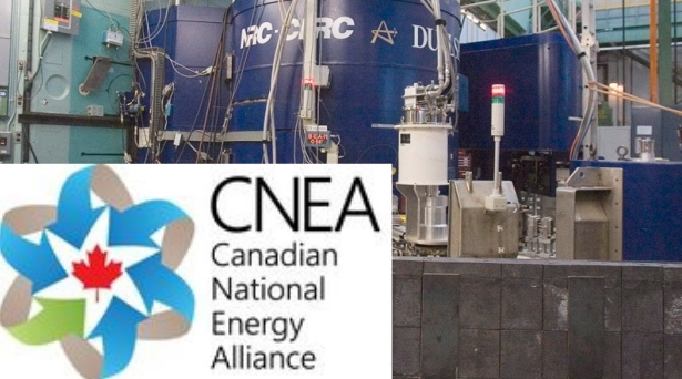 The Atomic Energy Canada Limited plant in Chalk River, Ontario and the Canadian National Energy Alliance (CNEA) logo (Power plant photo courtesy of Canadian Press/Fred Chartrand)