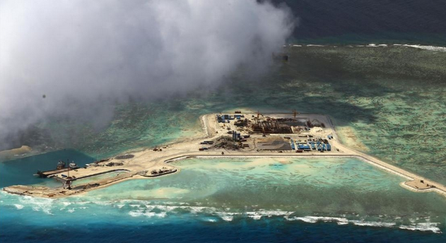 Chinese recent development at the Burgos (Gaven) Reef, located in the Tizard Banks, near the center of the Spratly islands. (Photo courtesy of Asia Maritime Transparency Initiative)
