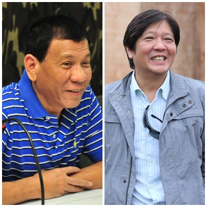 "Davao City Mayor Rodrigo ""Rody"" Duterte  (left) and Senator Ferdinand ""Bongbong"" Marcos Jr. (right) (Facebook photos)"