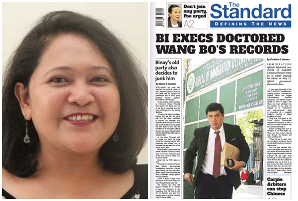Journalist Christine Herrera (left) and The Standard front page with Herrera's article (right) (Herrera's photo from her Twitter account and The Standard photo from their website)
