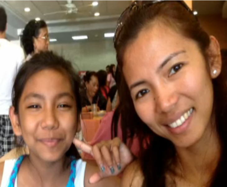 Filipina caregiver Karen Talosig and daughter Jazmine (Photo screengrab from CBC News report)