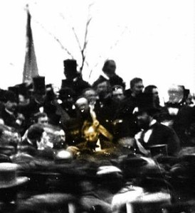One of the only two confirmed photos of Abraham Lincoln at Gettysburg. (Wikipedia Photo)