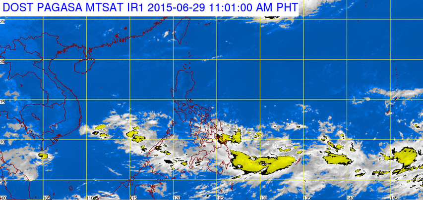 Pagasa satellite shows cluster of clouds east of the Philippines (Screengrab from Pagasa's website)