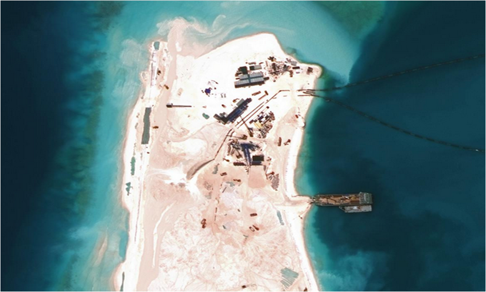 China's recent land reclamation efforts on Panganiban (Mischief) Reef in the Spratly Islands (Photo courtesy of Asia Maritime Transparency Initiative)