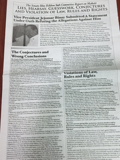 VP Binay's full page ad in a major newspaper in the Philippines (Photo courtesy of the Philippine Daily Inquirer / @inquirerdotnet / Twitter)