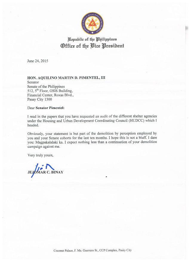 VP Binay's letter to Sen. Pimentel (Photo courtesy of the Office of Sen. Koko Pimentel)