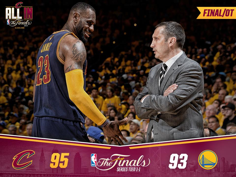 """""""We're coming home tied 1-1 after another nailbiter at Oracle Arena."""" (Photo from the official Facebook page of the Cleveland Cavaliers)"""