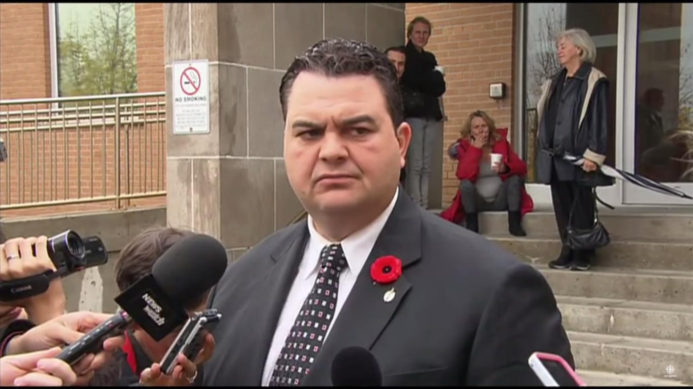 Prime Minister Stephen Harper's former parliamentary secretary Dean del Mastro (screengrab from CBC News footage)