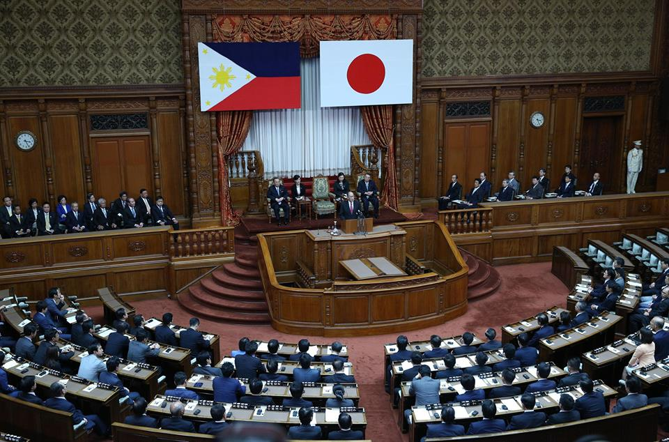 President Aquino addresses the Joint Session of the National Diet of Japan at the Chamber of the House of Councillors (HoC) in Tokyo. (Malacanang Photo Bureau)