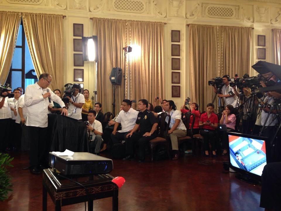 President Benigno Aquino III at the press briefing on the Kentex fire incident (Malacanang Photo Bureau)