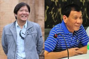 "Senator Ferdinand ""Bongbong"" Marcos Jr. (left) and Davao City Mayor Rodrigo ""Rody"" Duterte (right) (Facebook photos)"