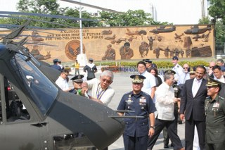 Defense Secretary Voltaire Gazmin at the Turnover Ceremony of the new Philippine Air Force helicopters (Photo from the Armed Forces of the Philippines)