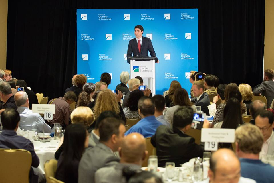 Liberal leader Justin Trudeau at the Richmond Chamber of Commerce (Facebook)