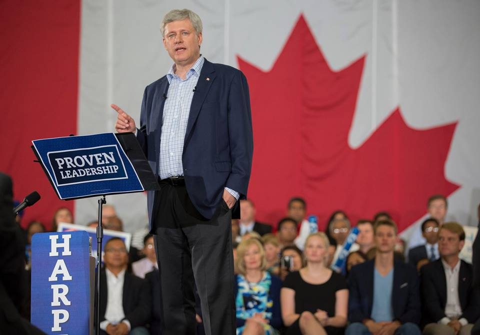 """Canadians know that it takes proven leadership to keep our economy strong. Thanks to the many dedicated Conservatives who showed their support in Laval, Kingston, and Ajax."" (PM Harper's official Facebook page)"