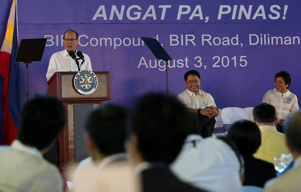 President Noynoy Aquino delivering a speech at the Bureau of Internal Revenue's 111th anniversary. (Photo from Aquino's official Facebook page)