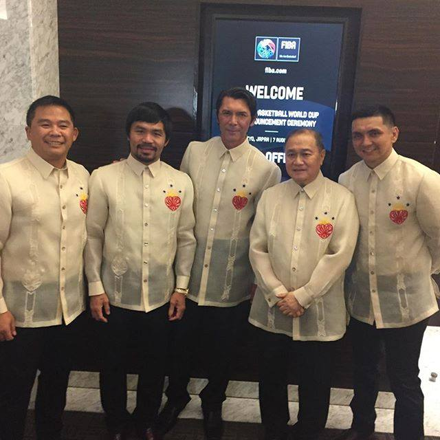 The Philippine delegation to the FIBA 2019 bidding: (L-R) SMART Gilas Pilipinas Coach Chot Reyes, Rep. Manny Pacquiao, actor Lou Diamond Philips, SMART President Manny V. Pangilinan, and retired PBA superstar Jimmy Alapag (Manny Pacquiao's official Facebook page)