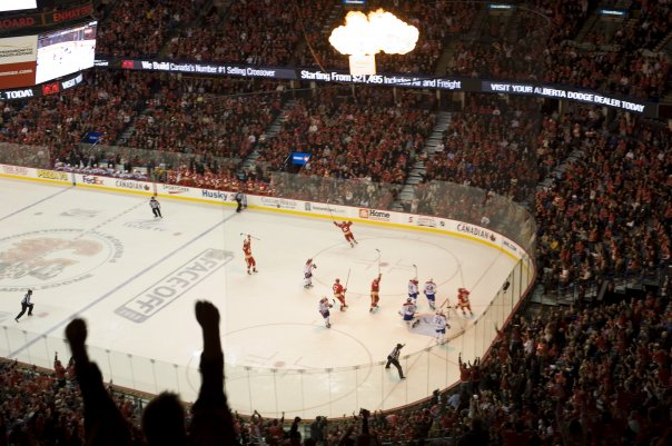 The Calgary Flames during a game at the Saddledome (Photo from Calgary Flames' official Facebook page)