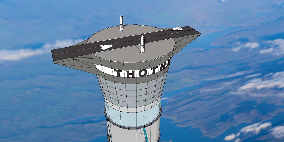 20-km space tower (Photo from Thoth Technology, Inc.)