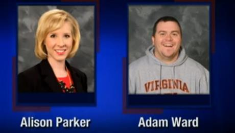 Reporter Alison Parker and cameraman Adam Ward were killed when a gunman opened fire during a live on-air interview (Screenshot from WDBJ-TV7)