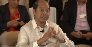 "Budget Secretary Florencio ""Butch"" Abad at the WEF session (Screengrab from the DBM's Facebook page)"