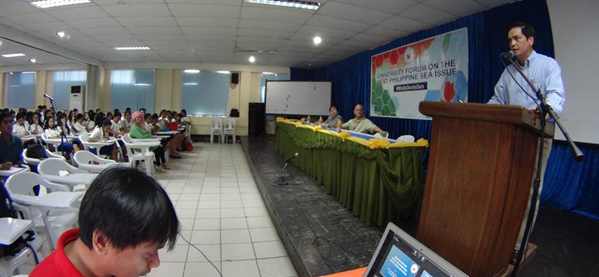 DFA Spokesperson Charles C. Jose delivers a lecture before students and faculty members of the  Iloilo Science and Technology University  (ISATU) (Contributed photo)