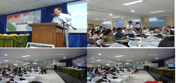 (Top left photo) Assistant Secretary Jose holds lecture at the Iloilo Science and Technology University (ISATU).  (Other photos)  Students and faculty members pose questions and share insights during the open forum (Contributed photo)
