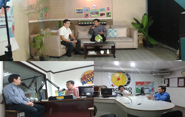 """DFA Spokesperson Charles Jose explains the West Philippine Sea to viewers of the ABS-CBN TV program """"Sikat Ka! Iloilo."""" (top photo)  Assistant Secretary Jose as guest in Bombo Radyo (right photo) and on Aksyon Radyo (left photo)"""