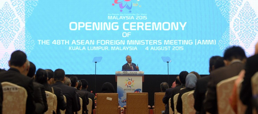 Malaysian Prime Minister Yab Dato' Sri Mohd Najib Tun Abdul Razak delivers an opening address at the 48th ASEAN Foreign Ministers Meeting held at Kuala Lumpur, Malaysia. (Photo from ASEAN)