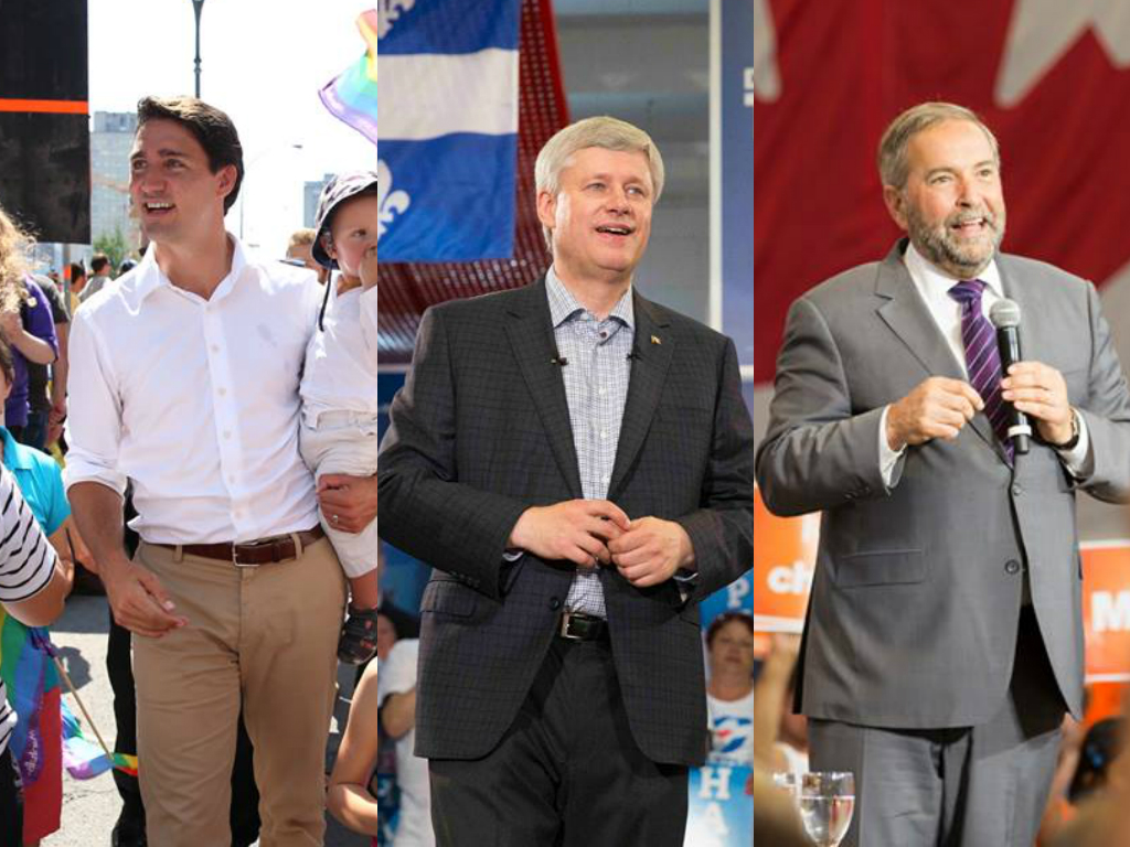 Liberal leader Justin Trudeau, Prime Minister Stephen Harper, and NDP leader Tom Mulcair (Facebook photos)