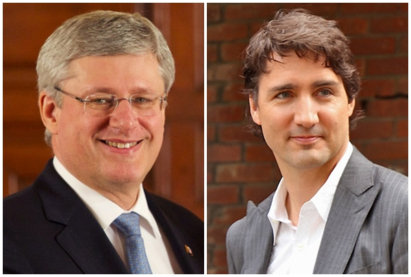 Prime Minister Stephen Harper (left) and Justin Trudeau (Wikipedia photos)
