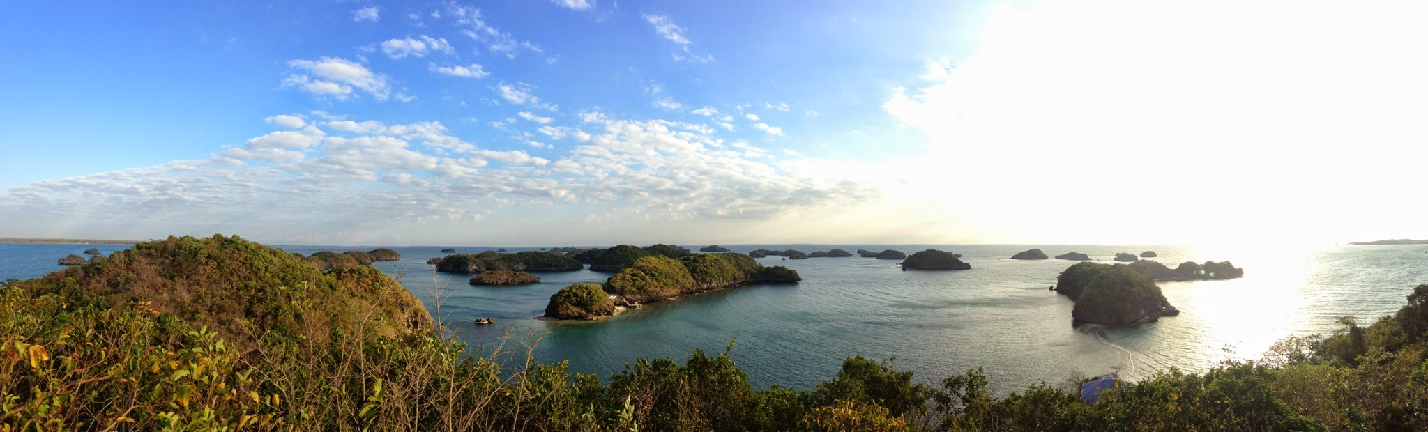 A panoramic view of the Hundred Islands National Park in Alaminos, Pangasinan
