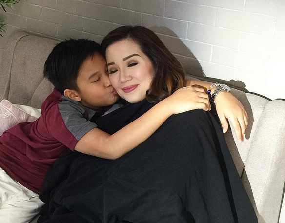 Bimby Yap hugs his mom Kris Aquino who also had a fever earlier this month. (Photo from Aquino's official Instagram account)