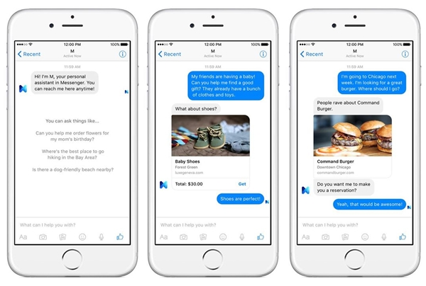 """M,"" Facebook's artificial intelligence-powered service inside its messaging app.  (Photo from Facebook/David Marcus)"