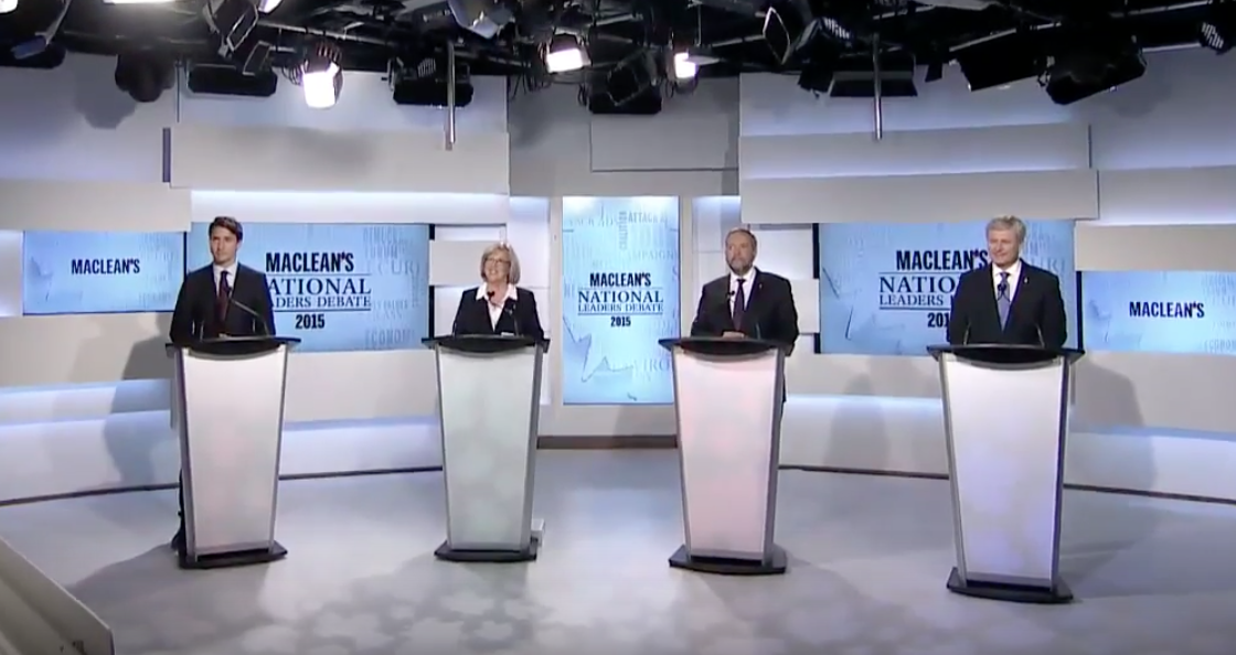 Maclean's National Leaders Debate 2015 (Screenshot from Macleans coverage)