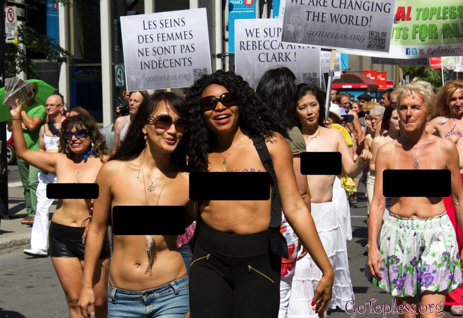 Topless protest in Montreal, Canada (Photo: GoTopless.org)