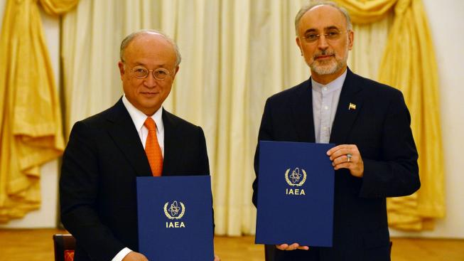 IAEA Director General Yukiya Amano and Vice President of the Islamic Republic of Iran Ali Akhbar Salehi signing a roadmap for the clarification of past and present issues regarding Iran's nuclear program in Vienna. (Photo from IAEA/D.Calma)
