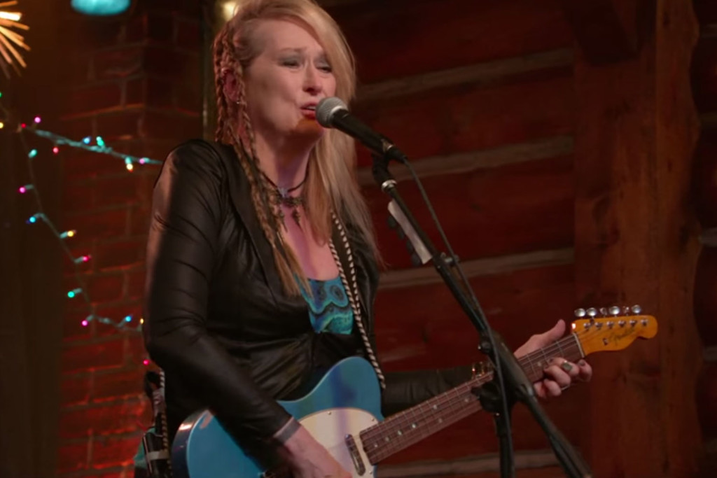 """Academy Award winning actress Meryl Street turns into a rock star in her new movie """"Ricki and The Flash"""" (screenshot from movie trailer)"""