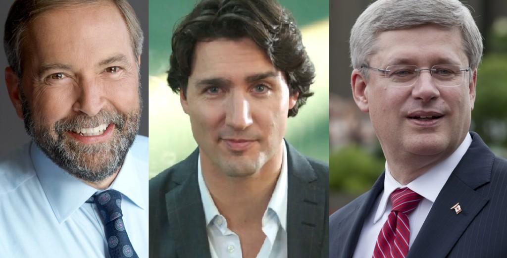 Tom Mulcair, Justin Trudeau and Stephen Harper