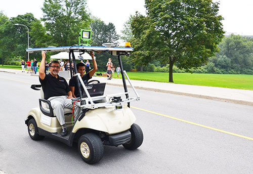 Two Waterloo engineering students have created the first autonomous vehicle to drive in Canada. (Photo from the University of Waterloo)