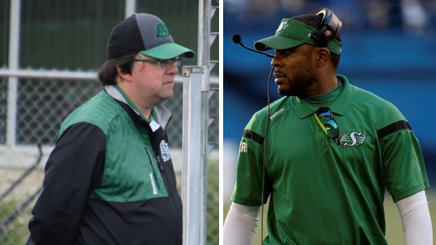 Former Saskatchewan Roughriders coach Corey Chamblin (right) and former vice president of football operations and general manager Brendan Taman (Photo from the  Saskatchewan Roughriders' official Facebook page)