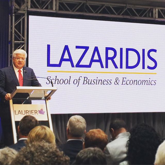 Wilfrid Laurier University names its school of business and economics – and a new campus building opening next year – for Mr. Lazaridis. (Photo from the Wilfrid Laurier University)