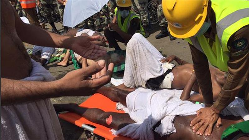 About 453 pilgrims were killed while more than 700 were wounded at Mina outside Mecca.  (Photo from the Saudi civil defense)