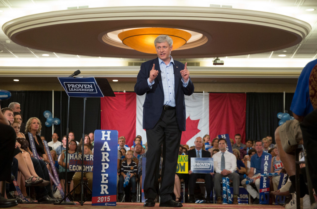 Prime Minister Stephen Harper attends a rally in St. Catharines, September 8, 2015. (CPC Photo by Jason Ransom)